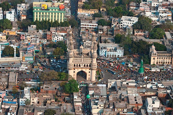 Aerial photo of Charminar Hyderabad