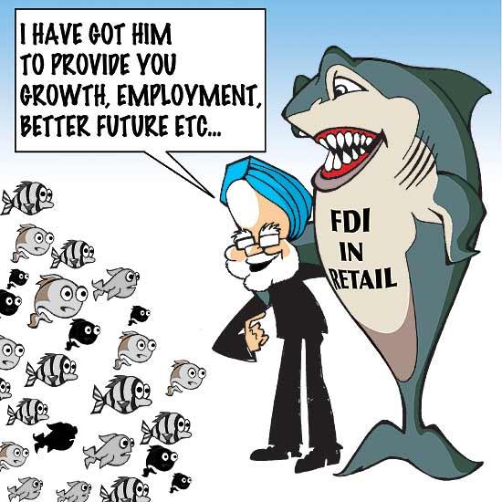 Manmohan Singh cartoon on FDI